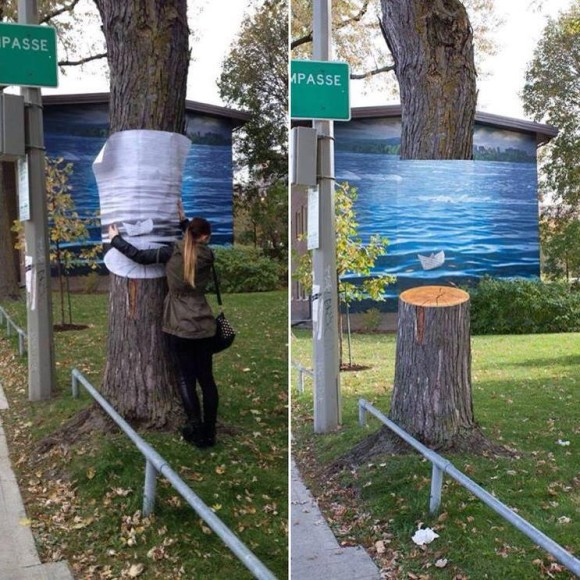 Invisible Tree Optical Illusion
