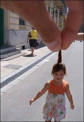 Giant and Little Girl Optical Illusion