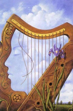 Lady in the Harp Optical Illusion