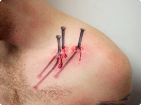 Nails in the Shoulder Optical Illusion