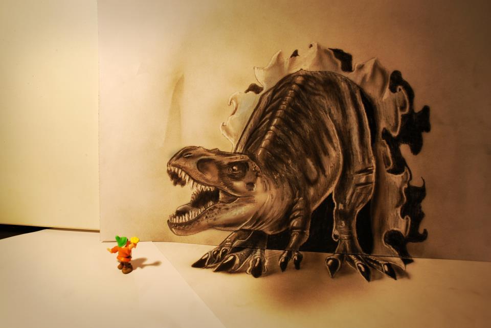 Dinosaur Busting Through the Wall Optical Illusion