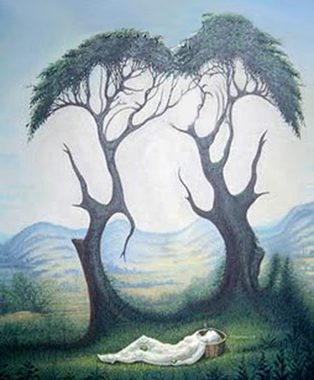 People in the Trees Optical Illusion