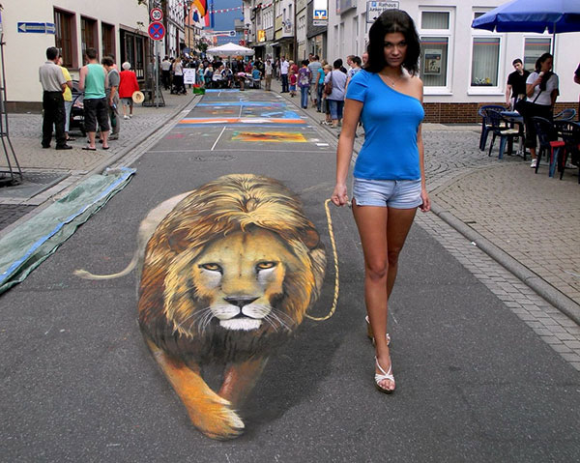 A Woman and Her Pet Lion Optical Illusion