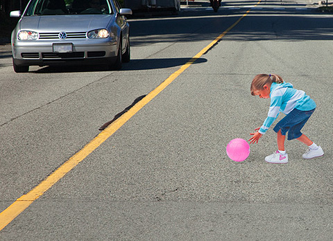 Child Playing in the Street Optical Illusion