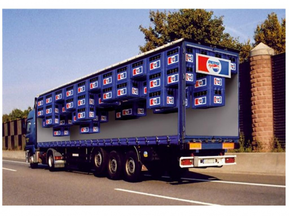 Clear Pepsi Truck Optical Illusion