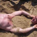 Headless Man on the Beach Optical Illusion