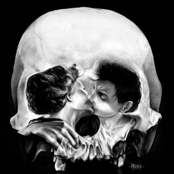 kissing skull optical illusion