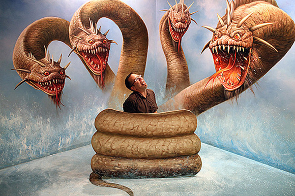 Man and Three Headed Monster Snake Optical Illusion