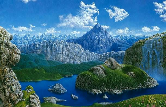 Scenic Scene with Hidden Animals Optical Illusion