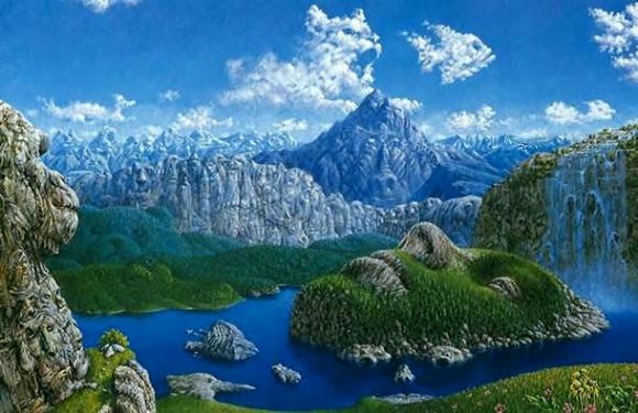 Scenic Scene with Hidden Animals Optical Illusion