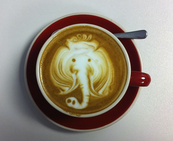 elephant in the coffee cup optical illusion