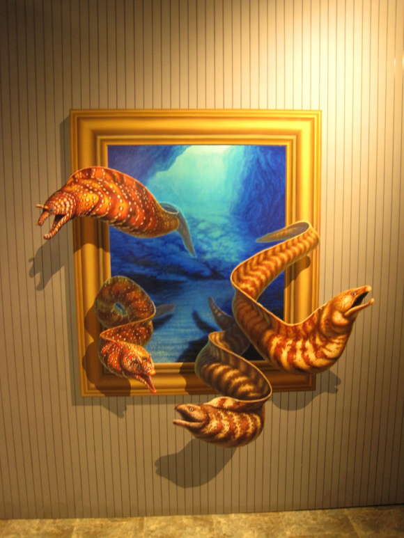 Escaping Eels From a Painting Optical Illusion