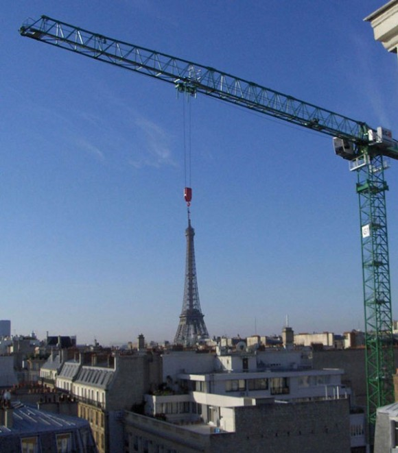 Eiffel Tower Getting Moved By Crane Optical Illusion