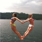 Jumping Girls Forming Heart Optical Illusion