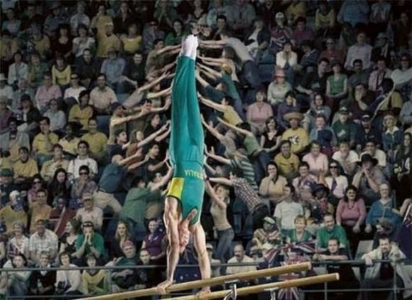 Gymnast With Help Optical Illusion