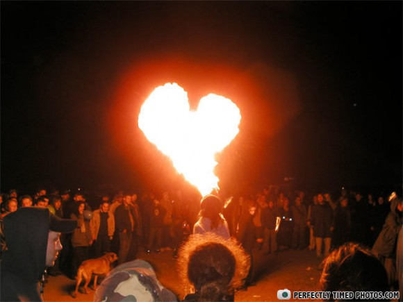 Heart Shaped Fire Burst Optical Illusion