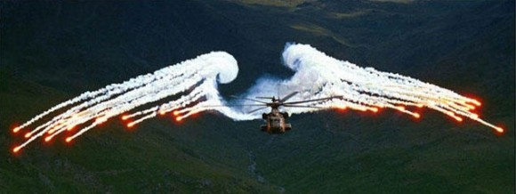 Helicopter with Angel Wings Optical Illusion