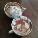 Coffee with Foamy Cat Optical Illusion