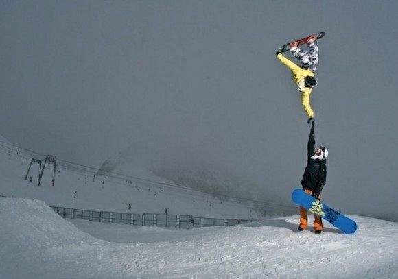 Floating Snowboarder Optical Illusion