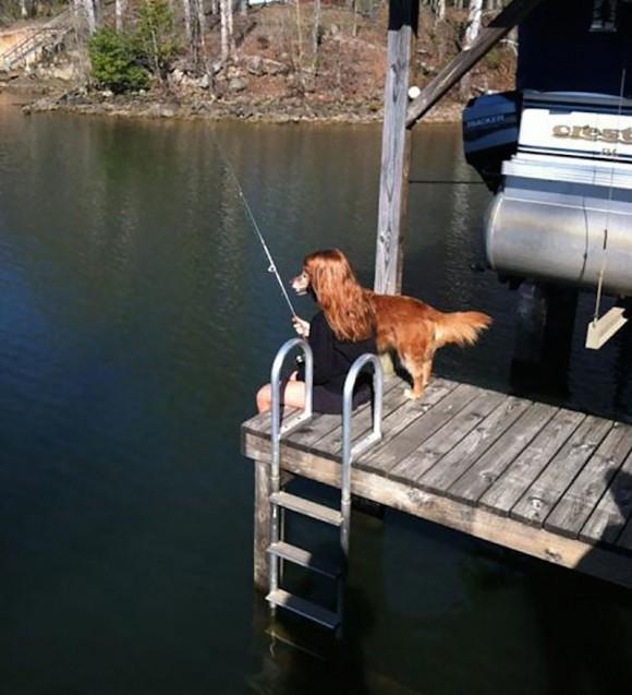 Half Woman Half Dog Fishing Optical Illusion