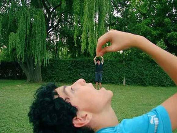 The Man Eating Giant Optical Illusion