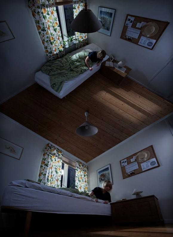 Impossible room optical illusion