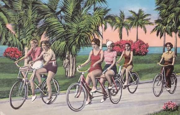Ladies on Bicycles optical illusion