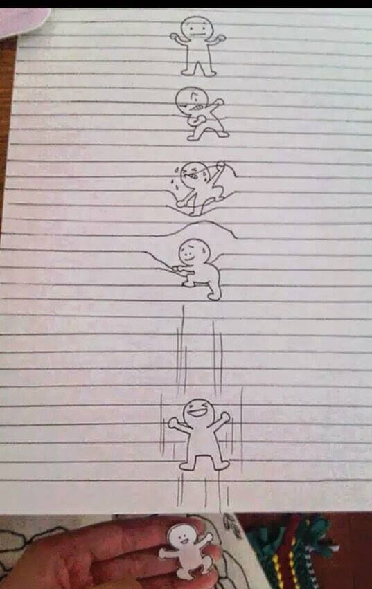 little guy escapes from lined paer drawing