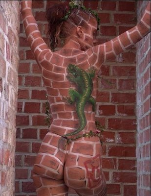 Brick Wall Body Paint Illusion