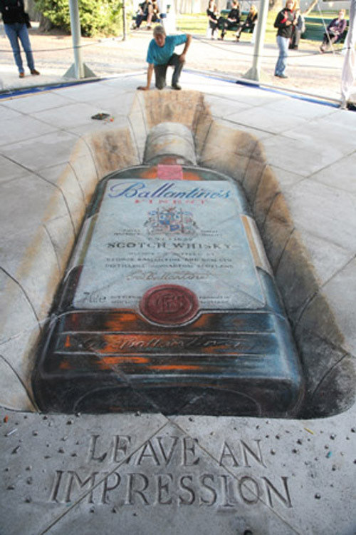 Ballantines 3D Chalk Drawing Illusion