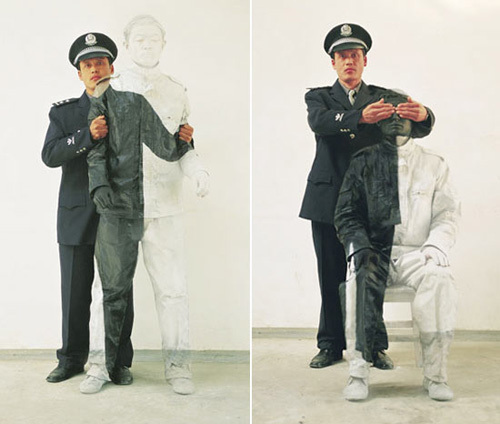 Liu Bolin Hiding in the City No. 16- People's Policeman, 2006