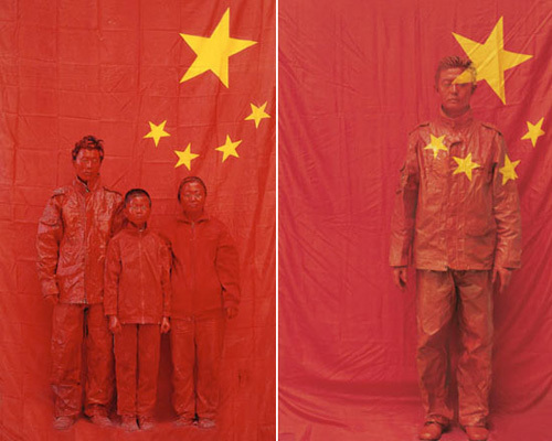 Liu Bolin Hiding in the City No. 54- Photo of the Whole Family, 2007