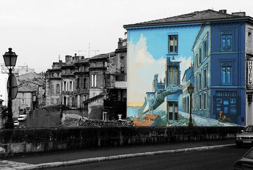 Cartoonish Mural Painted Building