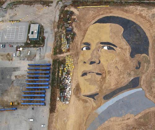 A Sand Art Portrait of Barack Obama