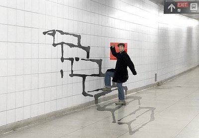 People Climbing Painted Stairs Illusion