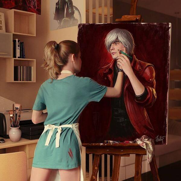 Painting Comes to Life Optical Illusion