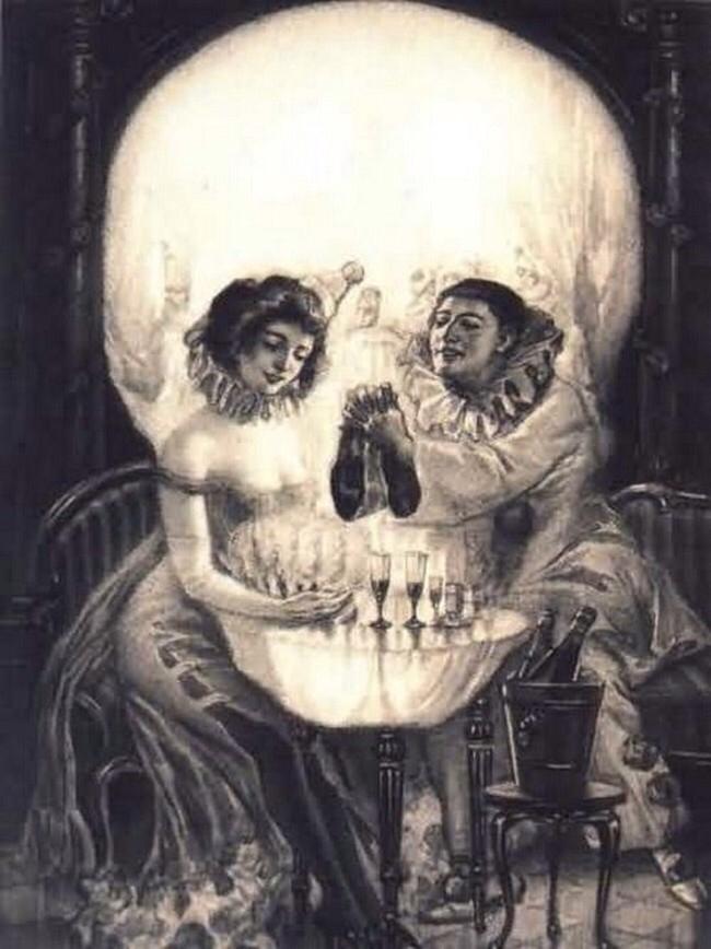 Skull Art Optical Illusion