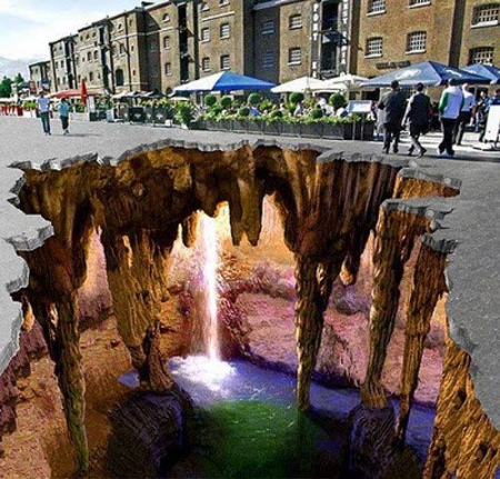 Hidden Waterfall Under the Street Optical Illusion