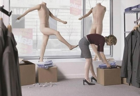 attacking mannequin optical illusion