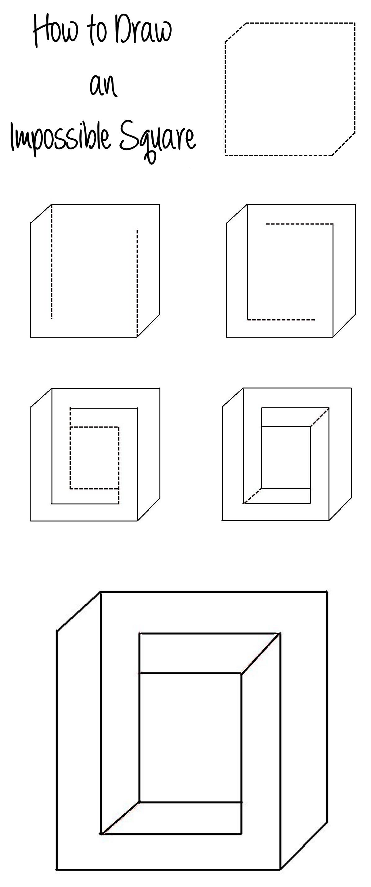 How To Draw An Impossible Square Illusion