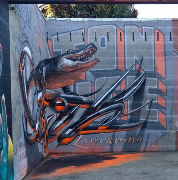 Greetings From Louisiana Alligator Street Art Illusion