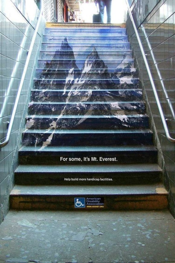 mountains painted on stairs