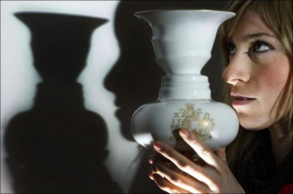 Rubin Vase Optical Illusion In Shadow