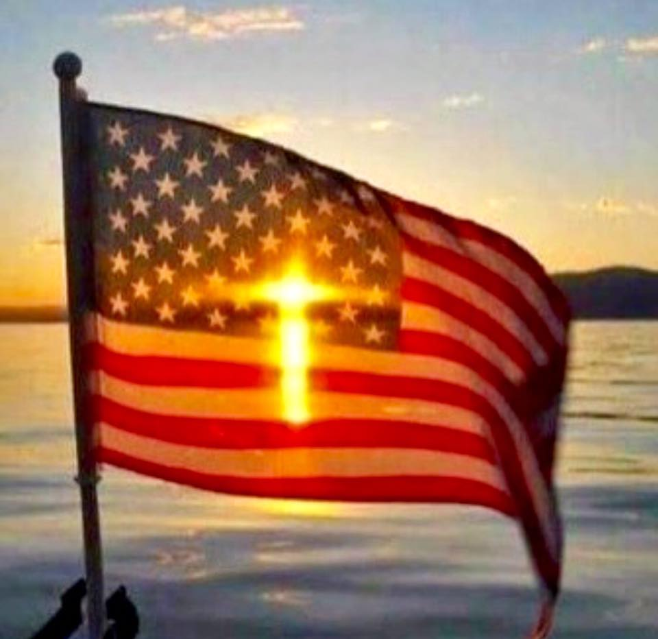 Cross And American Flag Illusion