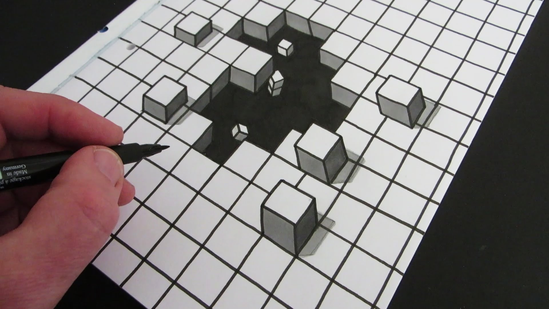 Easy 3d Line Drawings : Cool optical illusion cube drawing