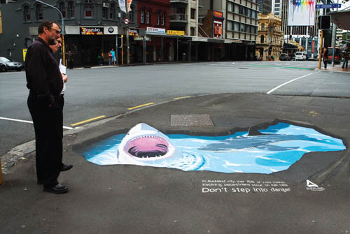 Quotdont step into dangerquot 3d chalk drawings for How to create 3d floor graphics