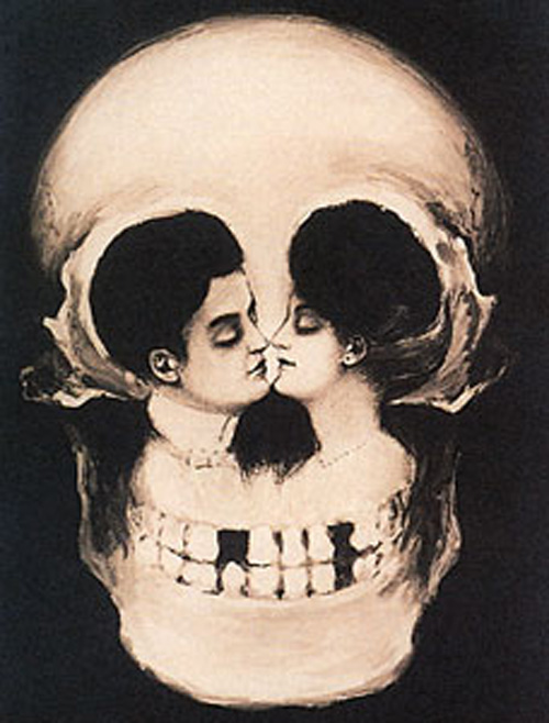 skull death optical illusion illusions french couple kiss postcard gestalt woman awesome skulls collection dali romance vanity kissing salvador double